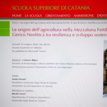 """Oggi all' Università di Catania """"Le origini dell'agricoltura nella Mezzaluna Fertile:il caso di Gerico Neolitica tra resilienza e sviluppo sostenibile"""""""