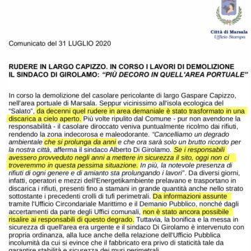 Ancora sulla discarica di Largo Capizzo: la maldestrezza di un comunicato stampa che confessa l'inerzia di una Amministrazione Comunale