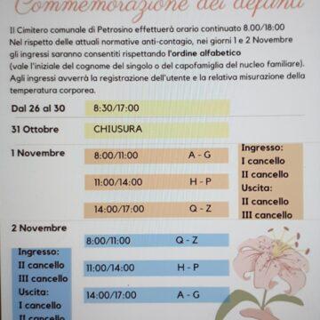 1-2 novembre commemorazione dei defunti a Petrosino nel rispetto delle normative anticontagio covid