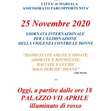 Marsala, dalle ore 18 Palazzo VII Aprile illuminato di rosso oggi 25 novembre – Giornata Internazionale per l'eliminazione della violenza contro le donne