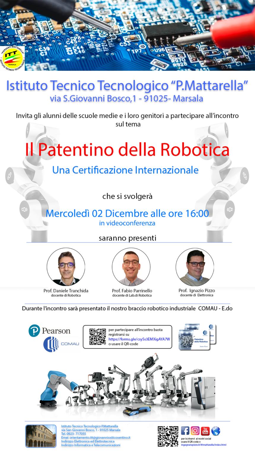 """Marsala, """"Il Patentino della Robotica"""" un'opportunità per l'accesso diretto al mondo del lavoro. Il 2 dicembre in videoconferenza il quinto incontro per gli studenti delle scuole medie"""
