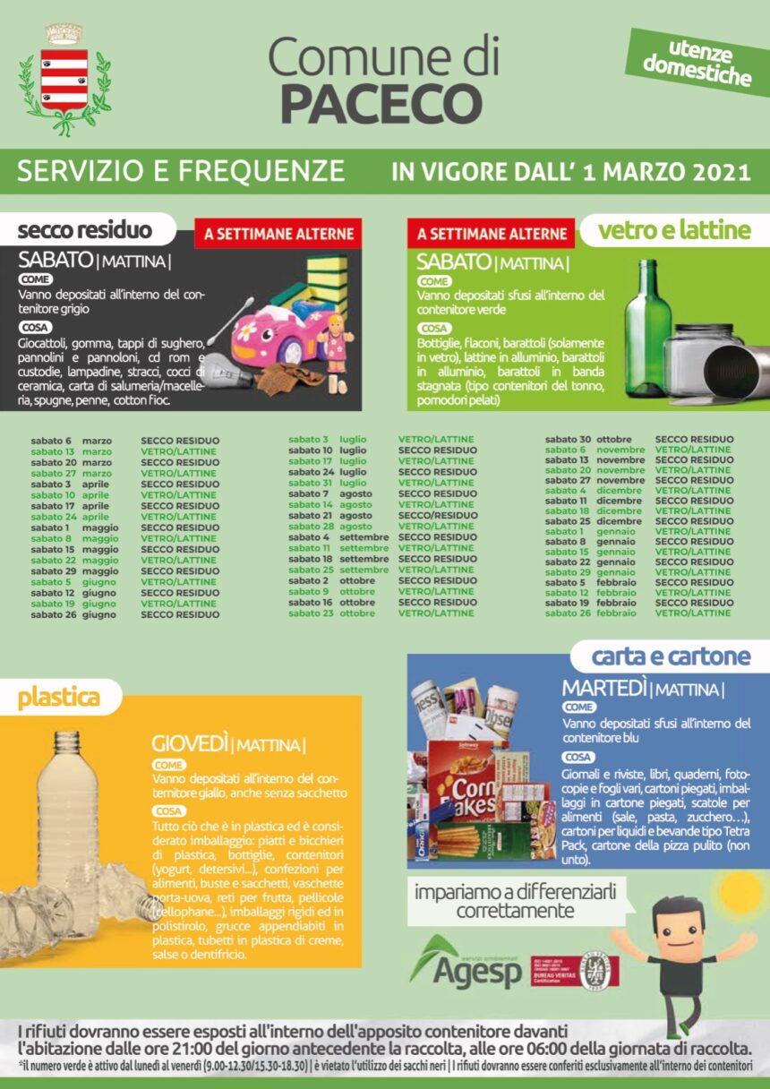 Paceco, nuovo calendario dei servizi di raccolta differenziata