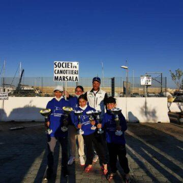 I velisti della Società Canottieri di Marsala sul podio della Carnival Race, regata internazionale a Crotone