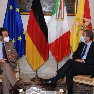 Palazzo Orleans, Musumeci riceve l'ambasciatore tedesco in Italia