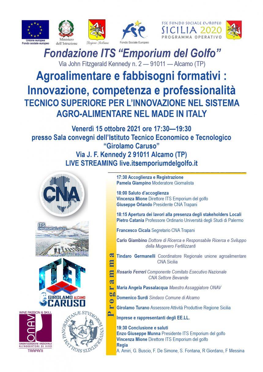 """CNA Trapani promuove l'Alta Specializzazione: venerdì 15 ottobre un seminario su """"Agroalimentare e fabbisogni formativi"""""""