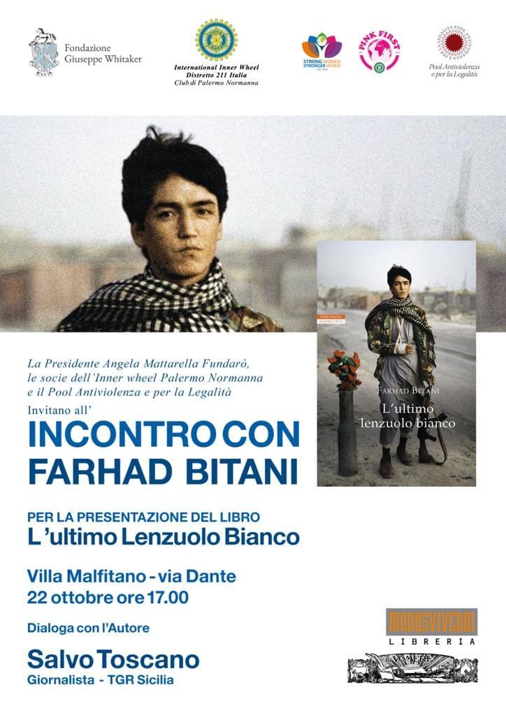 """Presentazione del libro """"L'ultimo lenzuolo bianco"""" di Farhad Bitani a Villa Malfitano a Palermo venerdì 22 ottobre ore 17"""